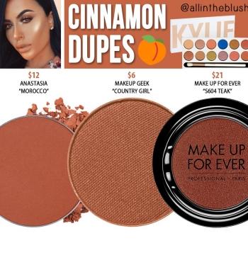 Kylie Cosmetics Peach Palette Cinnamon Eyeshadow Dupes