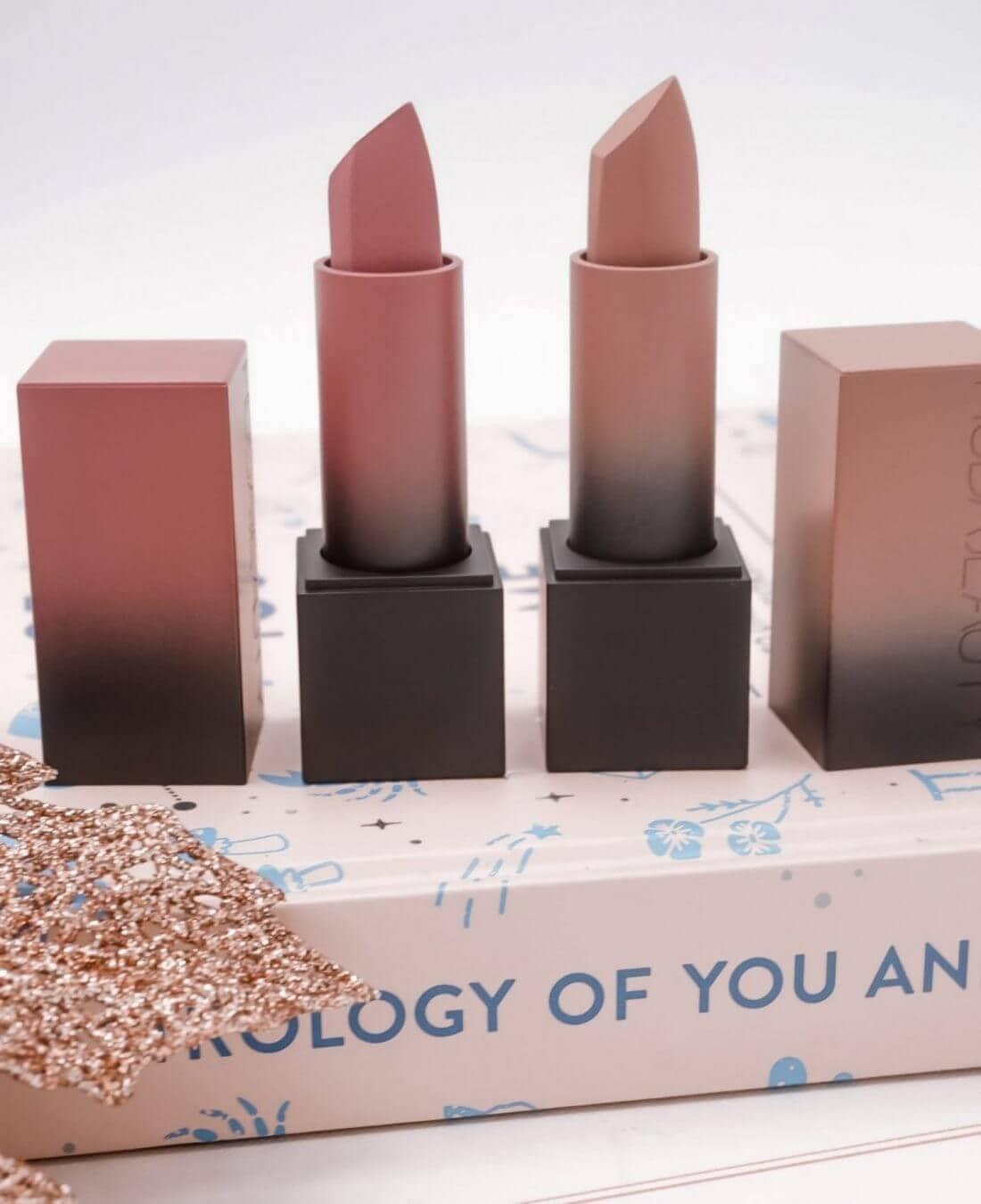 Huda Beauty Lipsticks called Prom Night and Honeymoon